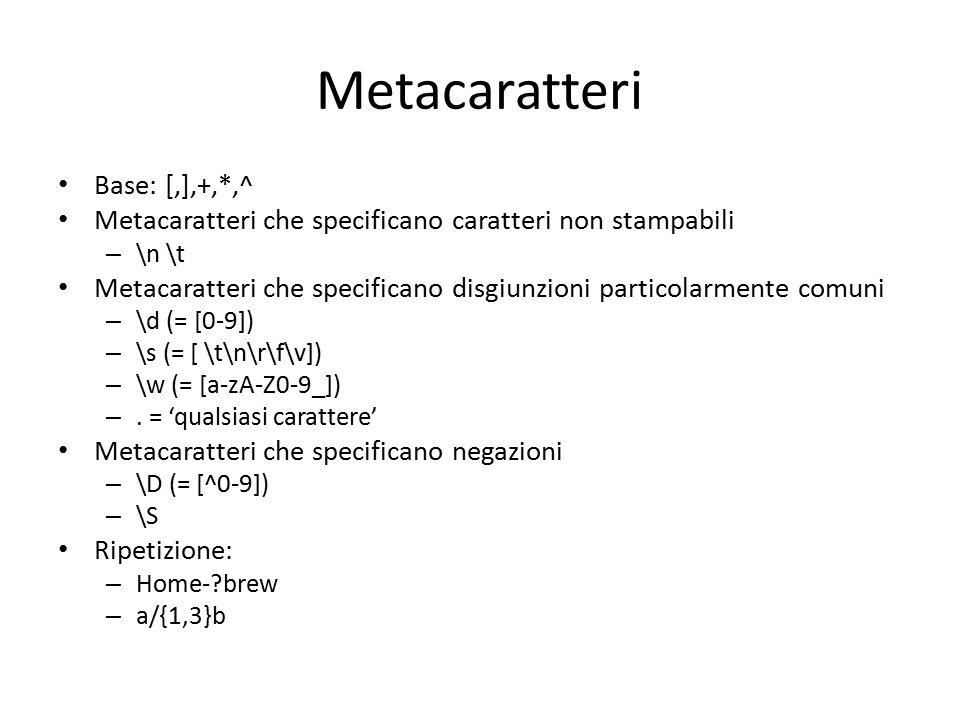 Metacaratteri Base: [,],+,*,^